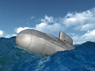 Modernes russisches Unterseeboot in stürmischer See