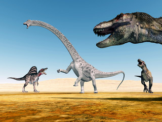 Spinosaurus, Diplodocus und Tyrannosaurus Rex