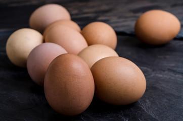 Eggs  on black stone