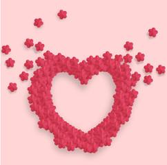 Coeur fleurs de cerisier origami