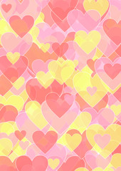 Hintergrund verschieden große Herzen in pink und gelb