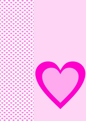 Karte rosa mit rosa Herzen