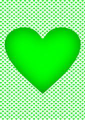 Karte mit grünen Herzen