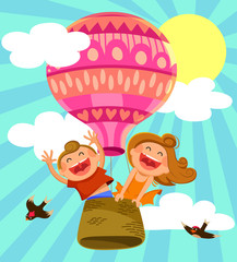 two happy kids flying in a hot air balloon