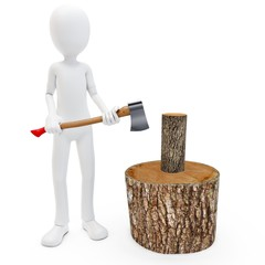 3d man with axe cutting fire wood