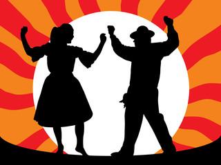 Ilustração - Casal a dançar rancho