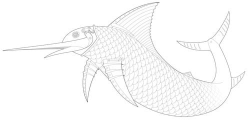 Steampunk Sailfish mechanical fish 1