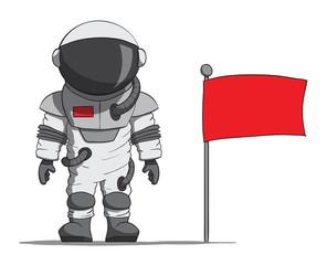 Cartoon astronaut with a flag. Vector illustration