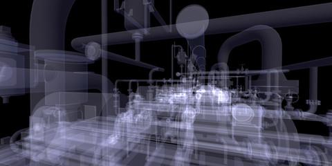 Industrial equipment. X-Ray render