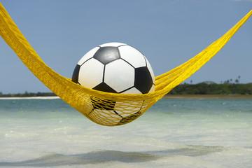 Lazy Football Soccer Ball Relaxing in Beach Hammock
