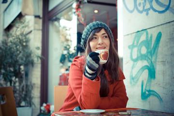 beautiful woman red coat breakfast