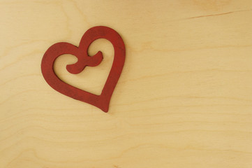 wooden heart on colorful background