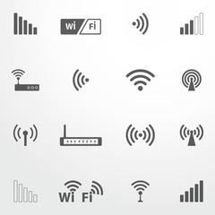 Set of four wifi icons