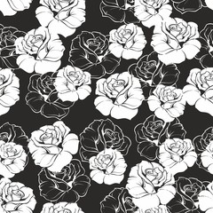 Seamless vector floral pattern white roses on black background