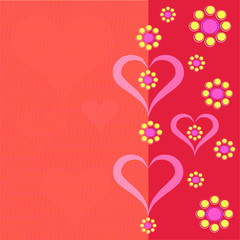 vector pattern background with flowers and hearts