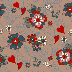 Seamless Vintage pattern with flowers for Valentine design