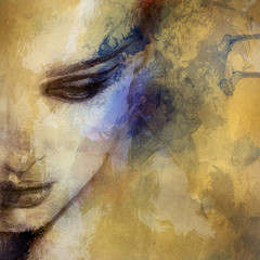 Foto auf Gartenposter Bestsellers Beautiful woman face. watercolor illustration