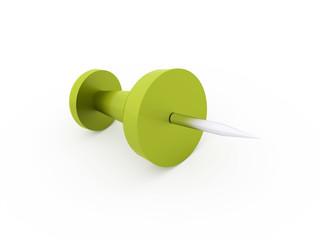 Single green push pin rendered on white