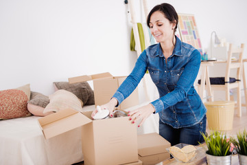 woman moving into a new apartment.