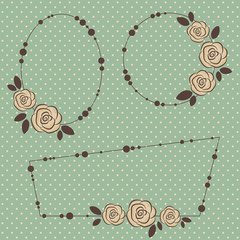 Three retro floral frames on polka-dot background