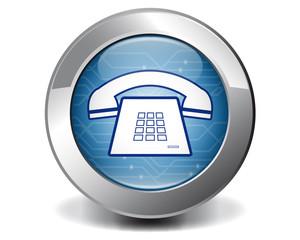 Blue vintage telephone button