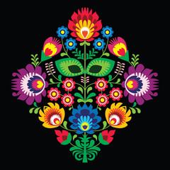 Folk embroidery - traditional polish pattern on black