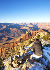 Photographer in action in the Grand Canyon