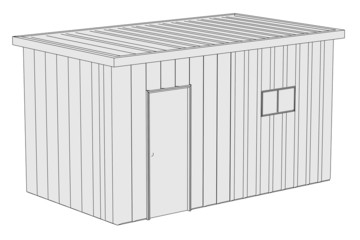 cartoon image of construction shack