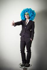 funny blu wig beautiful young businesswoman