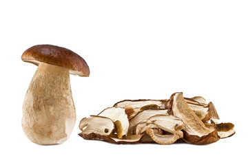 boletus mushrooms raw and dried