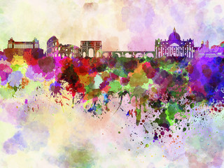 Fotomurales - Rome skyline in watercolor background