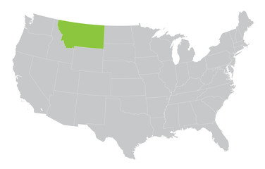 map of USA with indication of State of Montana