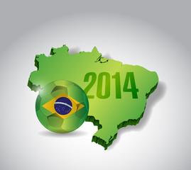 brazil map and soccer ball illustration design
