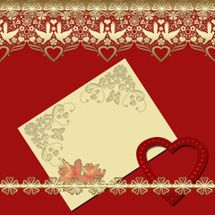 Invitation vintage frame with golden lace on red