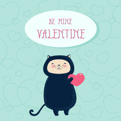 Funny cat with heart Valentine's day greeting card