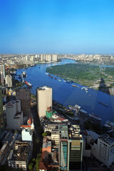 View of Ho Chi Minh City from Bitexco financial tower.