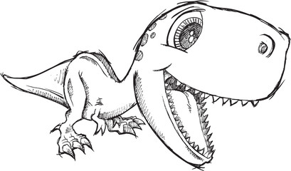 Aluminium Prints Cartoon draw Sketch Doodle Cute Tyrannosaurus Rex Dinosaur Vector