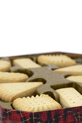 Tin of shortbread biscuits with room for copy