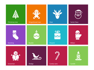 Christmas icons on color background.