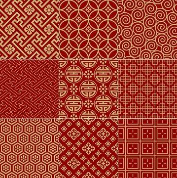 seamless traditional auspicious chinese mesh pattern
