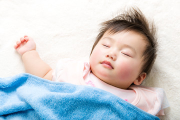 Asian baby sleeping