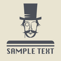 Hat and mustache icon or sign, vector illustration