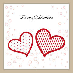 St.Valentines card: two red hearts on white background