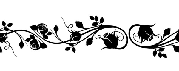 Horizontal seamless vignette with rose buds. Vector illustration