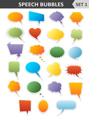 Colorful speech bubbles. Set 1. Vector Illustration.