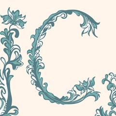 Initial letter C, floral pattern