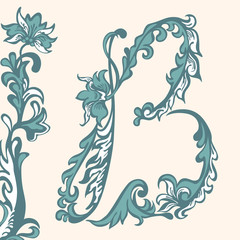 Initial letter B. floral pattern