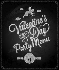 valentines day chalkboard party menu design background