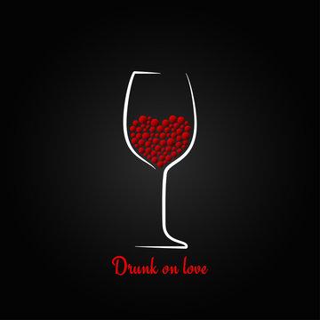 wine glass love concept valentines day design background