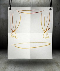 Blank stage on paper poster hanging on rope